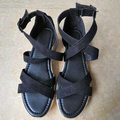 Women's Velvet Flat Heel Sandals Peep Toe With Buckle Animal Print shoes