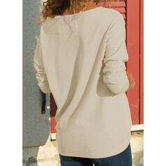 """Barevný blok Výstřih do """"V"""" Dlouhé rukávy Neformální Bluze"""