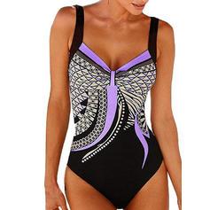Květinový vzor Na ramínka Sexy Plus mărimea Jednodílné Costume de baie