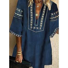 Print 3/4 Sleeves Shift Knee Length Casual/Boho/Vacation Tunic Dresses