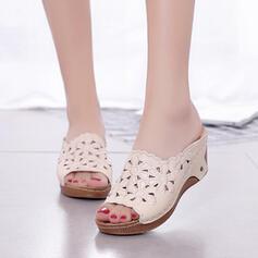 De mujer Cuero Tipo de tacón Sandalias Plataforma Encaje Pantuflas con Agujereado Flor zapatos