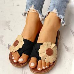 Γυναίκες PU Επίπεδη φτέρνα Σανδάλια Παντούφλες Με Λουλούδι παπούτσια