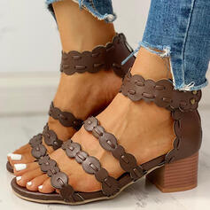 De mujer PU Tacón ancho Sandalias Encaje con Cremallera zapatos