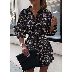 Nadrukowana Długie rękawy W kształcie litery A Nad kolana Casual Koszula/Łyżwiaż Sukienki