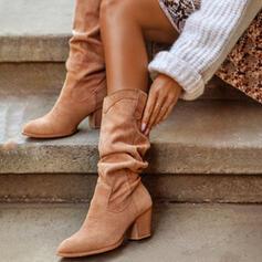Donna PU Tacco spesso Stivali altezza media Tacchi Punta rotonda con Increspato Colore solido scarpe