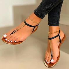 Kvinnor PU Flat Heel Sandaler Peep Toe Flip Flops med Ihåliga ut Skarvfärg skor