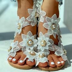 De mujer Tejido Tacón plano Sandalias Encaje con Perlas de imitación Flor zapatos