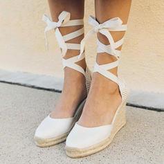 Kangas Wedge heel Kiilat jossa Nauhakenkä kengät
