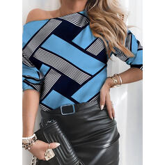 Stampa Una spalla Maniche lunghe Casuale Camicie