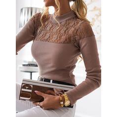 Solido Pizzo Alzarsi il colletto Maniche lunghe Elegante Maglieria Camicie