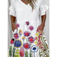 Tisk/Květiny Krátké rukávy Splývavé Nad kolena Neformální Tunika Šaty