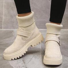 De mujer PU Tacón bajo Botas de calcetín con Color sólido zapatos