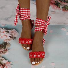 De mujer Microfibra Tacón plano Sandalias Planos Encaje con Perlas de imitación Agujereado Vendaje zapatos