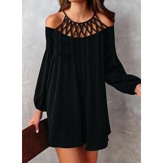 Pevný Dlouhé rukávy Splývavé Nad kolena Malé černé/Elegantní Šaty
