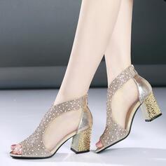 De mujer PU Tacón ancho Sandalias Encaje con Otros zapatos