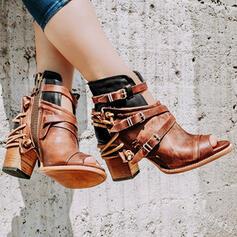 Mulheres Couro Salto robusto Sandálias Botas Peep toe Bota no tornozelo Topo alto com Fivela Zíper sapatos