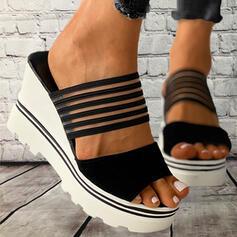 De mujer PVC Tipo de tacón Sandalias Pantuflas con Agujereado Vendaje A Rayas zapatos