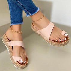 Kvinnor PU Flat Heel Sandaler Plattform Peep Toe Tofflor Tå ring med Ihåliga ut Skarvfärg skor