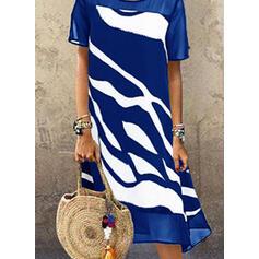 Print Short Sleeves Shift T-shirt Casual Midi Dresses