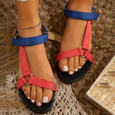 De mujer PU Tacón bajo Sandalias Encaje con Velcro zapatos