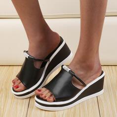 Women's PU Wedge Heel Sandals Peep Toe Slippers With Rhinestone shoes