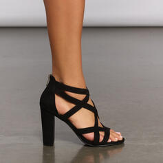 Dámské Koženka Široký podpatek Sandály Lodičky S Zip Vydlabaný Solid Color obuv