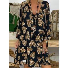 λεοπάρδαλη Hosszú ujjú Ingruha Térd feletti Hétköznapokra Tunika φορέματα