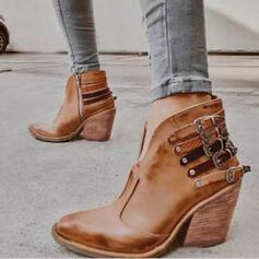 Donna PU Tacco spesso Stivali alla caviglia Punta a punta con Rivet Fibbia scarpe