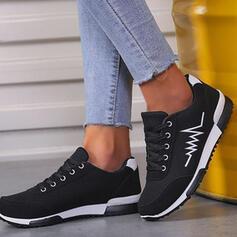 Femmes Suède Talon plat Plateforme Chaussures plates Low Top Tennis avec Dentelle Couleur d'épissure Inmprimé chaussures