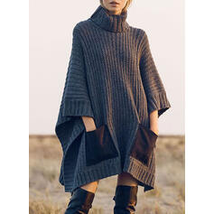 Solido Tasche Dolcevita Casual Lungo Abito maglione