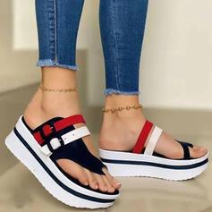 Kvinnor PU Kilklack Sandaler Plattform Kilar Peep Toe Tofflor Tå ring Klackar med Spänne Ihåliga ut Skarvfärg skor