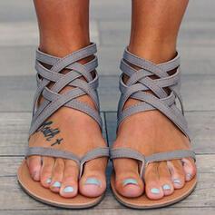 De mujer PU Tacón plano Sandalias Encaje con Banda elástica zapatos