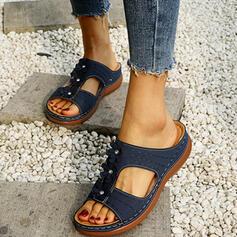 De mujer PU Tipo de tacón Encaje Pantuflas con Crystal Flor zapatos