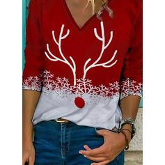 Stampa Scollatura a V Maniche lunghe Casuale Natale Camicie