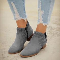 Naisten PU Matala heel Chunky heel Kengät Terävä varpa jossa Ontto-out Solid Color hengittävä kengät