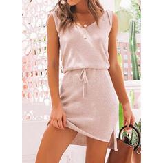 Sólido Sin mangas Cubierta Sobre la Rodilla Casual Vestidos