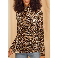 Leopardo Gola Alta Manga Comprida Casual Tricô Blusas