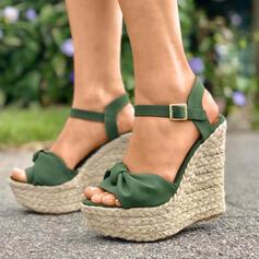 De mujer PU Tipo de tacón Sandalias Encaje con Botones zapatos