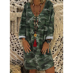 Print Long Sleeves Shift Knee Length Casual Tunic Dresses