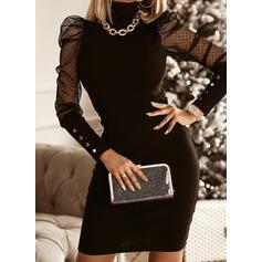 Pevný Dlouhé rukávy/Nadýchané rukávy Přiléhavé Nad kolena Malé černé/Elegantní Šaty