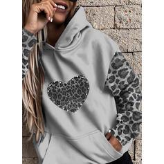 leopardo In rilievo Maniche lunghe con cappuccio