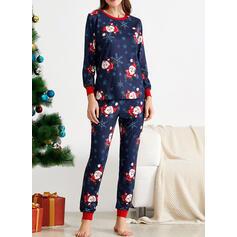 Polyester Dlouhé rukávy Vánoce Pajama Set