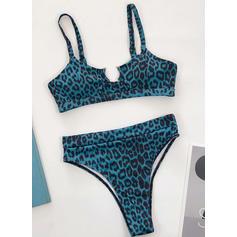 Culoare tare Yüksek Bacak Curea Sexy Frumos Clasic Bikini Mayolar