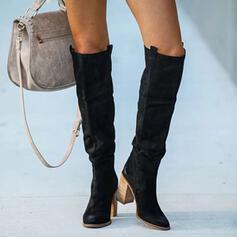 Naisten PU Chunky heel Knee saappaat Korot Terävä varpa jossa Ruched Solid Color kengät
