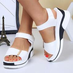 De mujer PU Tipo de tacón Sandalias Plataforma Encaje con Velcro Color sólido zapatos