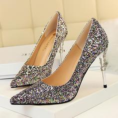 De mujer Brillo Chispeante Tacón stilettos Salón Cerrados con Brillo Chispeante Tacones con joya zapatos