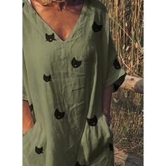 Animal Print 3/4 Sleeves Shift Tunic Casual/Vacation Midi Dresses