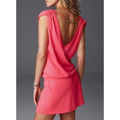 Enfärgad V-ringning Sexig Strandklänningar Badkläder