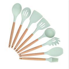 Moderne Stil Høy Kvalitet Tre Silikon Kjøkkenredskaper (sett av 8)