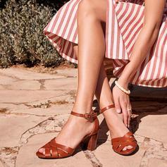 Women's PU Chunky Heel Sandals Pumps Heels With Buckle shoes